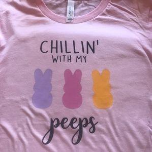 Medium peeps Easter shirt womens